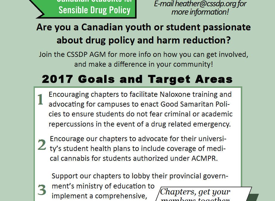 CSSDP 2017 AGM: Naloxone, Medical Coverage, Cannabis Education